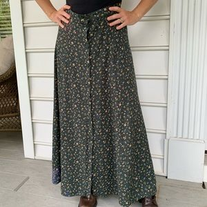 Vintage NYandCo prairie floral maxi skirt L